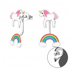 Unicorn And Rainbow - 925 Sterling Silver Double-sided Ear Studs A4S30420