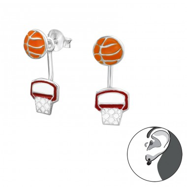 Basketball Lovers - 925 Sterling Silver Double-sided Ear Studs A4S30421