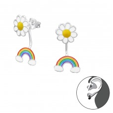 Daisy And Rainbow - 925 Sterling Silver Double-sided Ear Studs A4S30422