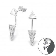 Triangle - 925 Sterling Silver Double-Sided Ear Studs A4S30788