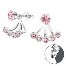 Round - 925 Sterling Silver Double-sided Ear Studs A4S30961