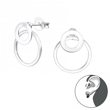 Circle - 925 Sterling Silver Double-sided Ear Studs A4S31041