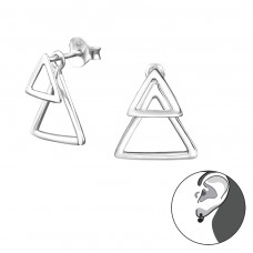 Triangle - 925 Sterling Silver Double-sided Ear Studs A4S31043