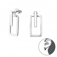 Rectangle - 925 Sterling Silver Double-sided Ear Studs A4S31044