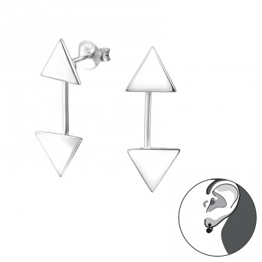 Triangle - 925 Sterling Silver Double-sided Ear Studs A4S31047