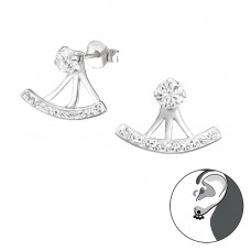 Curved - 925 Sterling Silver Double-sided Ear Studs A4S31135