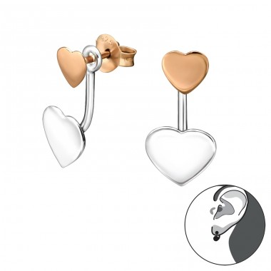 2 Tone Heart - 925 Sterling Silver Double-sided Ear Studs A4S31138