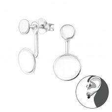 Circle - 925 Sterling Silver Double-sided Ear Studs A4S31139