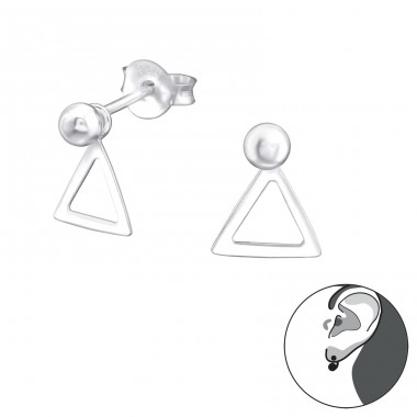 Triangle - 925 Sterling Silver Double-sided Ear Studs A4S31320