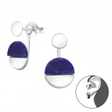 Geometric - 925 Sterling Silver Double-sided Ear Studs A4S31349
