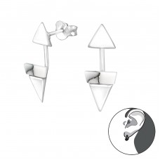 Geometric - 925 Sterling Silver Double-sided Ear Studs A4S31350