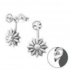 Flower - 925 Sterling Silver Double-sided Ear Studs A4S31363