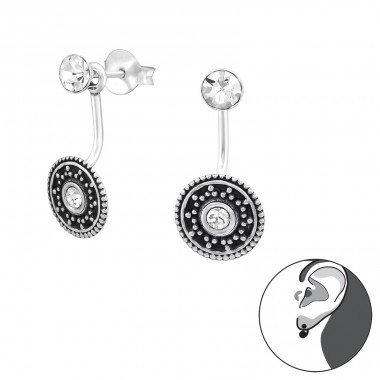 Bali - 925 Sterling Silver Double-sided Ear Studs A4S31364