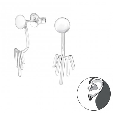 Geometric - 925 Sterling Silver Double-sided Ear Studs A4S31386