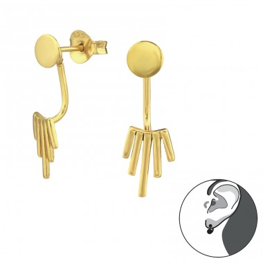 Geometric - 925 Sterling Silver Double-Sided Ear Studs A4S31387