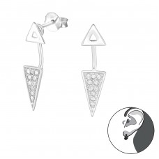 Geometric - 925 Sterling Silver Double-sided Ear Studs A4S31408