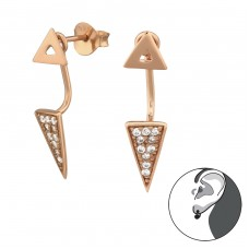 Geometric - 925 Sterling Silver Double-sided Ear Studs A4S31409