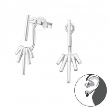 Geometric - 925 Sterling Silver Double-sided Ear Studs A4S31517