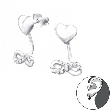 Infinity Love - 925 Sterling Silver Double-sided Ear Studs A4S31599