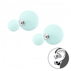 Double Powder Ball - 925 Sterling Silver Double-sided Ear Studs A4S31652
