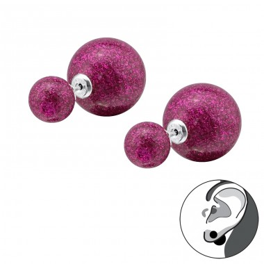 Double Glitter Ball - 925 Sterling Silver Double-sided Ear Studs A4S31654