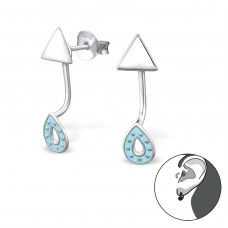 Geometic Ear Jackets - 925 Sterling Silver Double-sided Ear Studs A4S31700