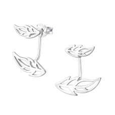 Leaf - 925 Sterling Silver Double-sided Ear Studs A4S32203