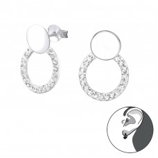 Geometric - 925 Sterling Silver Double-sided Ear Studs A4S33159