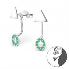 Geometric - 925 Sterling Silver Double-sided Ear Studs A4S33255