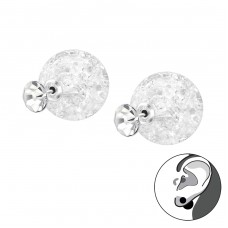 Round - 925 Sterling Silver Double-sided Ear Studs A4S33404