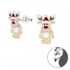 Reindeer - 925 Sterling Silver Double-sided Ear Studs A4S33596