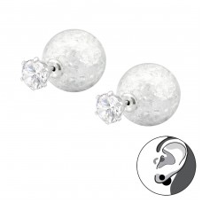 Silver Round Cubic Zirconia With Cracked Ball Double Ear Studs - 925 Sterling Silver Double-sided Ear Studs A4S33927