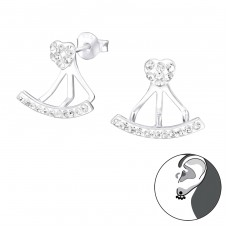 Heart - 925 Sterling Silver Double-sided Ear Studs A4S33959