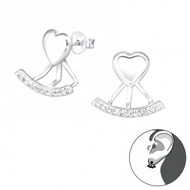 Heart - 925 Sterling Silver Double-sided Ear Studs A4S33960