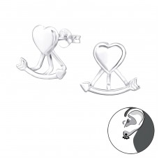 Heart And Arrow - 925 Sterling Silver Double-sided Ear Studs A4S33961