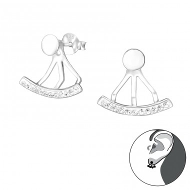 Curved - 925 Sterling Silver Double-sided Ear Studs A4S33962