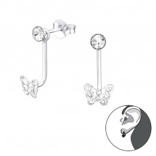 Butterfly - 925 Sterling Silver Double-sided Ear Studs A4S34190