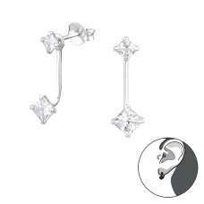 Square - 925 Sterling Silver Double-sided Ear Studs A4S34191