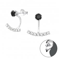 Curved Bar - 925 Sterling Silver Double-sided Ear Studs A4S34553