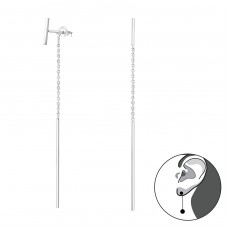 Bar With Hanging Line - 925 Sterling Silver Double-sided Ear Studs A4S34873