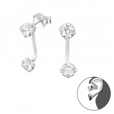 Round - 925 Sterling Silver Double-sided Ear Studs A4S35045