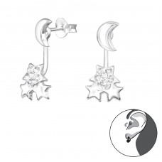 Moon And Star - 925 Sterling Silver Double-sided Ear Studs A4S35061