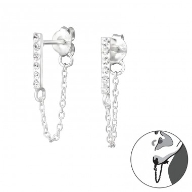 Bar With Hanging Chain - 925 Sterling Silver Double-sided Ear Studs A4S35206