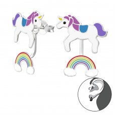 Unicorn And Rainbow - 925 Sterling Silver Double-sided Ear Studs A4S35344