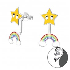 Star And Rainbow - 925 Sterling Silver Double-sided Ear Studs A4S35345