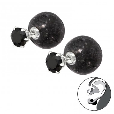 Round - 925 Sterling Silver Double-sided Ear Studs A4S35594