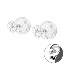 Snowflake - 925 Sterling Silver Double-sided Ear Studs A4S35595