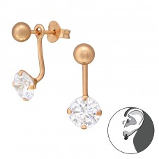 Round - 925 Sterling Silver Double-sided Ear Studs A4S35596