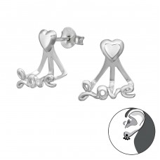 Love - 925 Sterling Silver Double-sided Ear Studs A4S35640