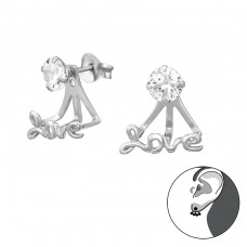 Love - 925 Sterling Silver Double-sided Ear Studs A4S35641